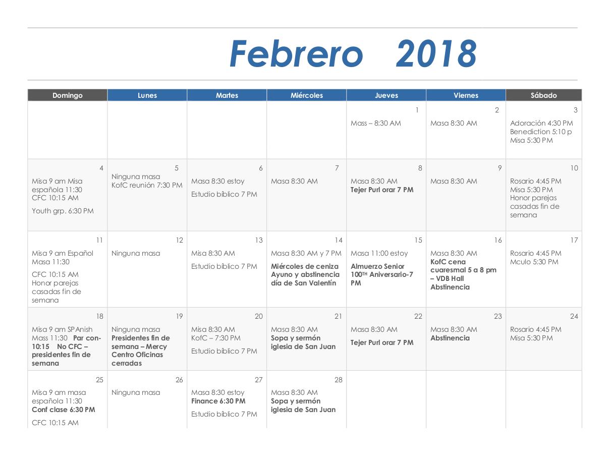 spanish february 2018 calendar