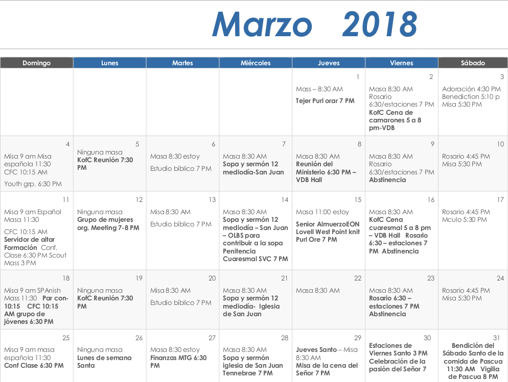spanish march 2018 calendar