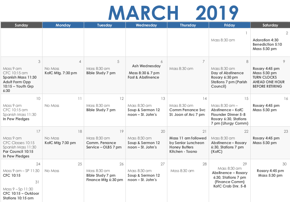 March 2019 Calendar   Our Lady of the Blessed Sacrament